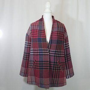 Rachel Zoe Plaid Check Coat Medium